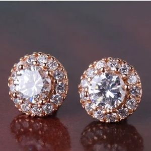 New ROSE GOLD WITH WHITE TOPAZ EARRINGS